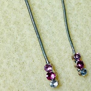 Pink and Silver Crystal Long Line Dangle Earrings